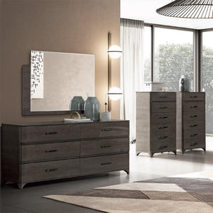 Maia Silver Birch High Gloss 6 Drawer Chest of Drawers - ImagineX Furniture & Interiors