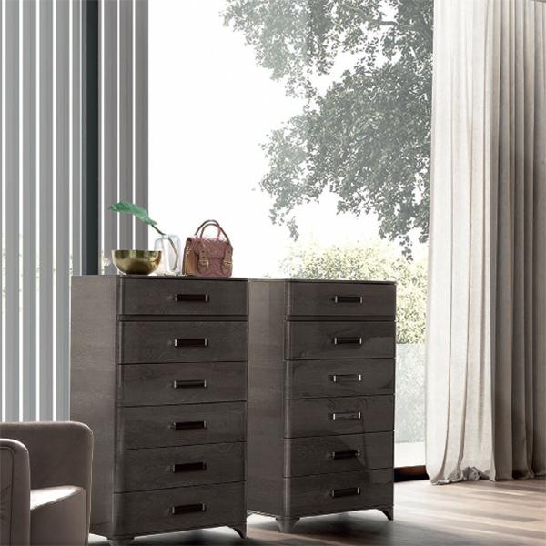 Maia Silver Birch High Gloss 6 Drawer Tall Boy Chest - AR Furnishings - Specialists In Bringing Luxury Into Your Home.