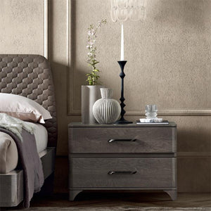 Maia Silver Birch High Gloss 2 Drawer Maxi Bedside Table - ImagineX Furniture & Interiors