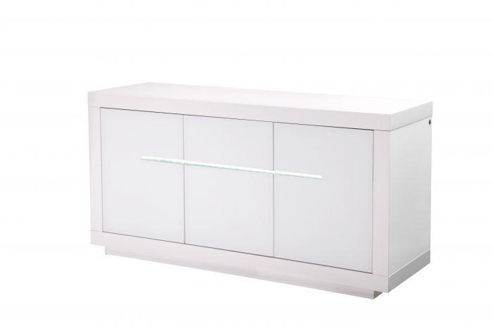 Monte Carlo 3 Door High Gloss Sideboard With LED White - 155cm - AR Furnishings - Specialists In Bringing Luxury Into Your Home.