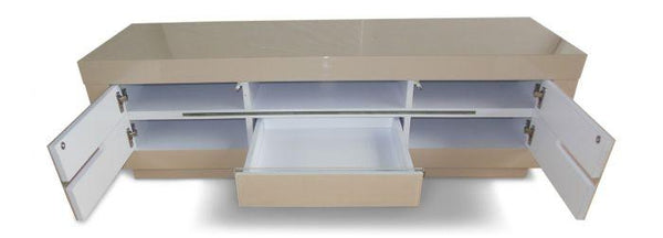 Monte Carlo Cream High Gloss Entertainment Unit With LED - AR Furnishings - Specialists In Bringing Luxury Into Your Home.