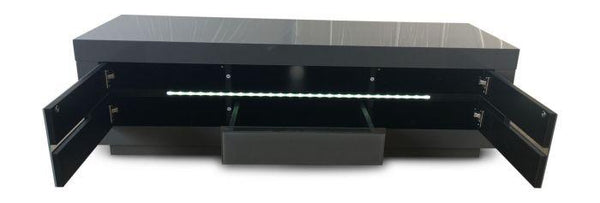 Monte Carlo Grey High Gloss Entertainment Unit With LED - AR Furnishings - Specialists In Bringing Luxury Into Your Home.