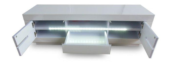 Monte Carlo White High Gloss Entertainment Unit With LED - AR Furnishings - Specialists In Bringing Luxury Into Your Home.