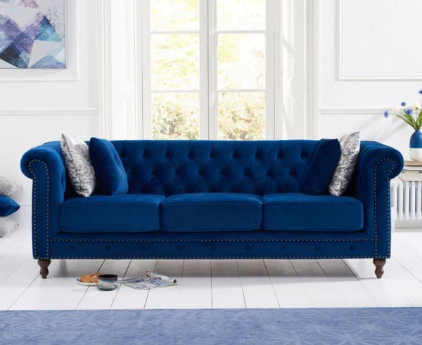 Montrose Blue Plush Fabric 3 Seater Sofa
