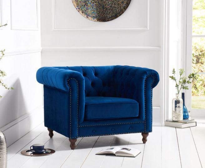 Montrose Blue Plush Fabric Armchair