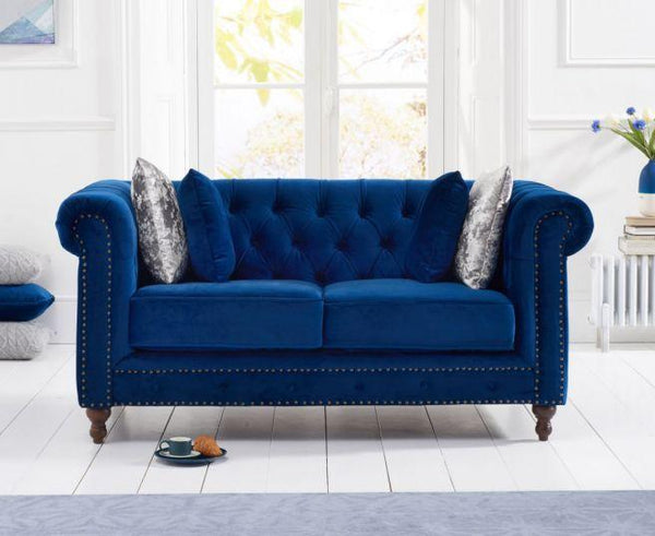 Montrose Blue Plush Fabric 2 Seater Sofa