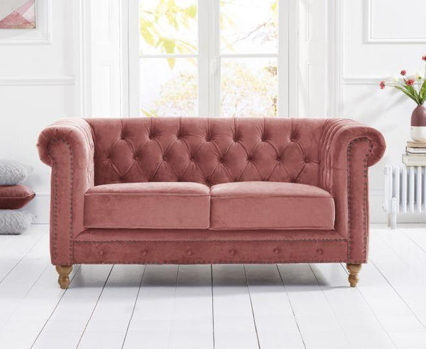 Montrose Blush Plush Fabric 2 Seater Sofa