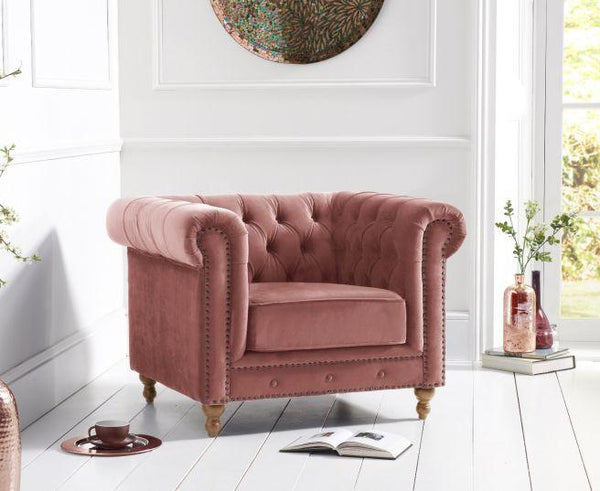 Montrose Blush Plush Fabric Armchair