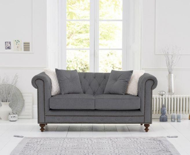 Montrose Grey Linen Fabric 2 Seater Sofa