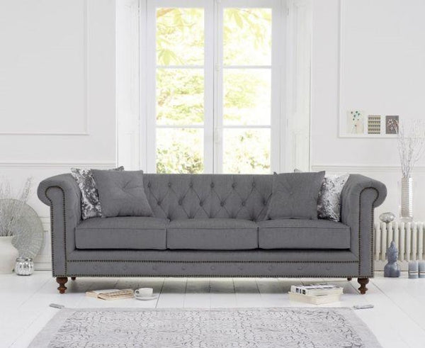 Montrose Grey Linen Fabric 3 Seater Sofa