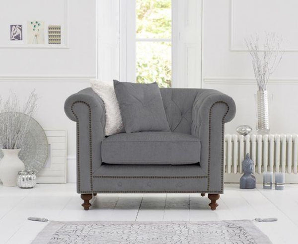 Montrose Grey Linen Fabric Armchair