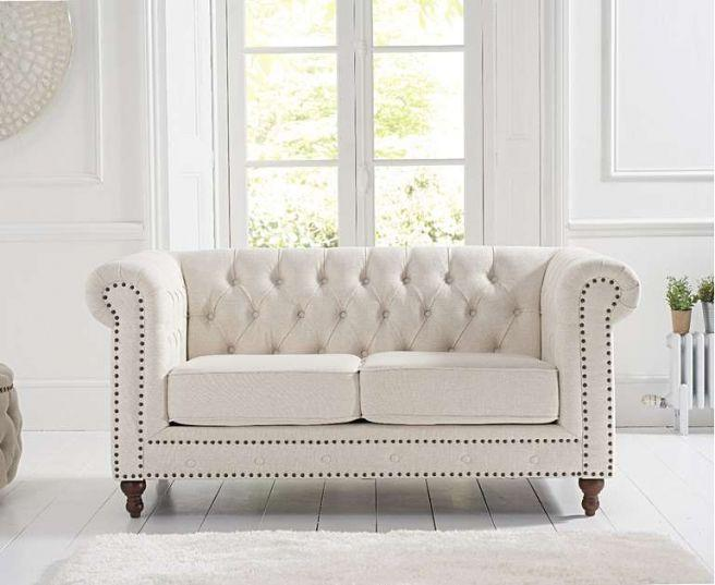 Montrose Ivory Linen Fabric 2 Seater Sofa