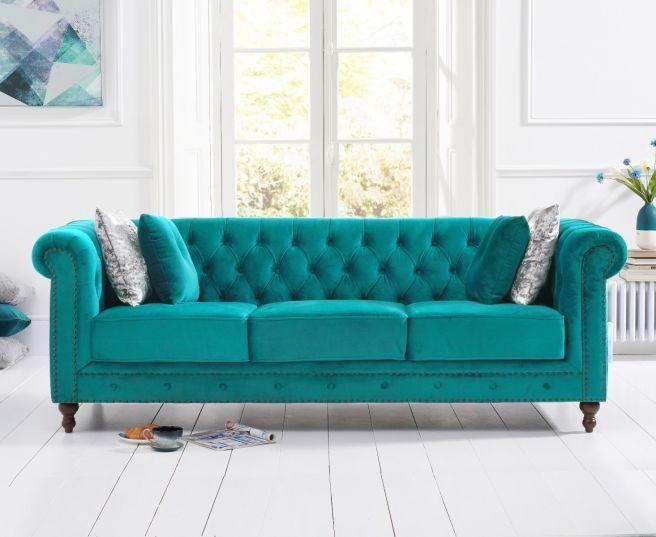 Montrose Teal Plush Fabric 3 Seater Sofa