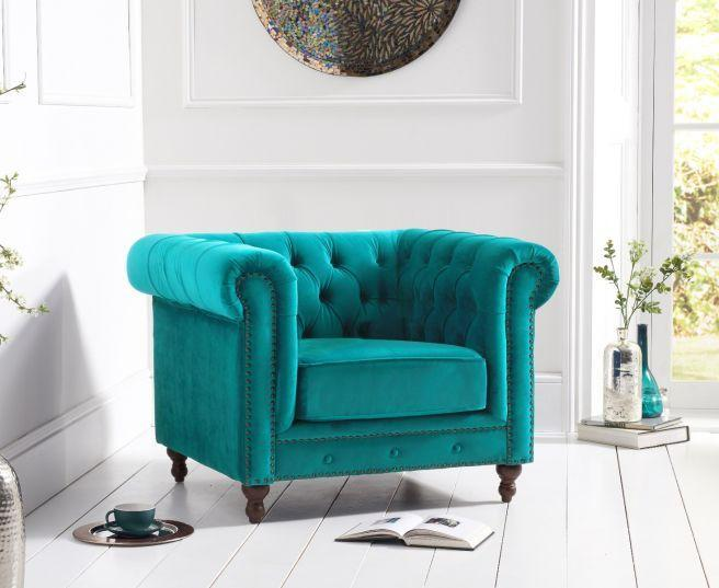 Montrose Teal Plush Fabric Armchair