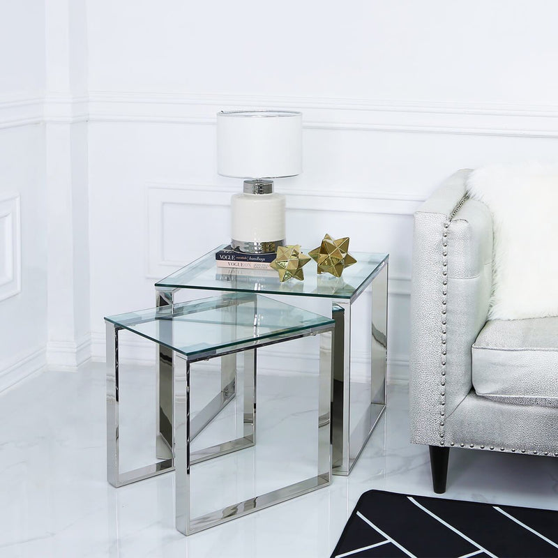 Value Nest of 2 End Side Tables - Chrome - AR Furnishings - Specialists In Bringing Luxury Into Your Home.