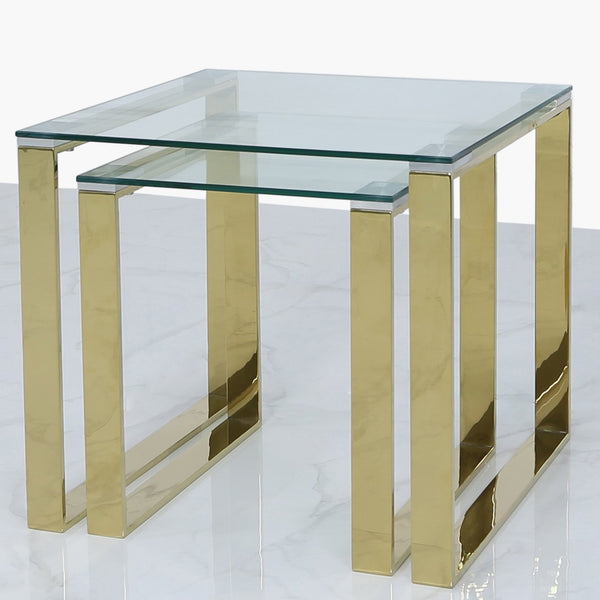 Value Nest of 2 End Side Tables - Gold - AR Furnishings - Specialists In Bringing Luxury Into Your Home.