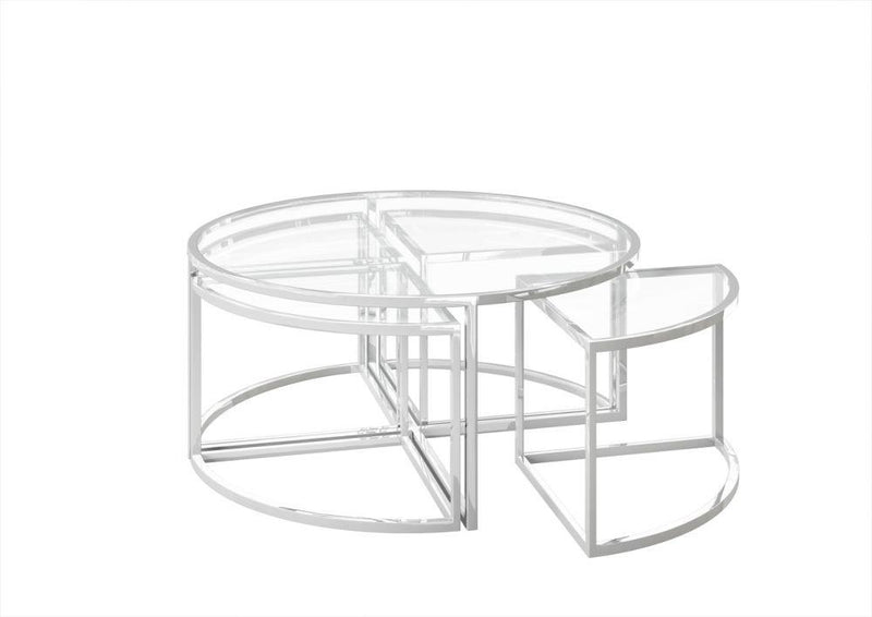 Omari Grande Luxury Glass Coffee Table Set - AR Furnishings - Specialists In Bringing Luxury Into Your Home.