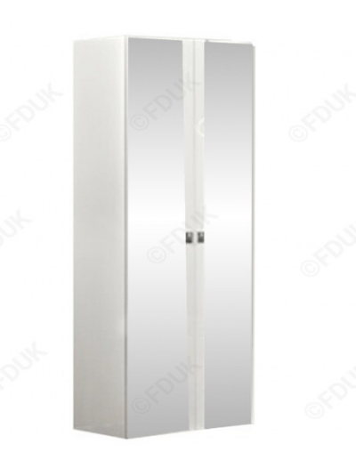 Onda White High Gloss Italian 2 Door Mirror Wardrobe - AR Furnishings - Specialists In Bringing Luxury Into Your Home.
