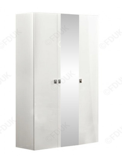 Onda White High Gloss Italian 3 Door Mirror Wardrobe - AR Furnishings - Specialists In Bringing Luxury Into Your Home.