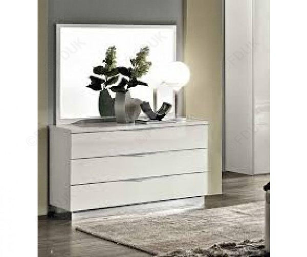 Onda White High Gloss Italian 3 Drawer Single Dresser - AR Furnishings - Specialists In Bringing Luxury Into Your Home.