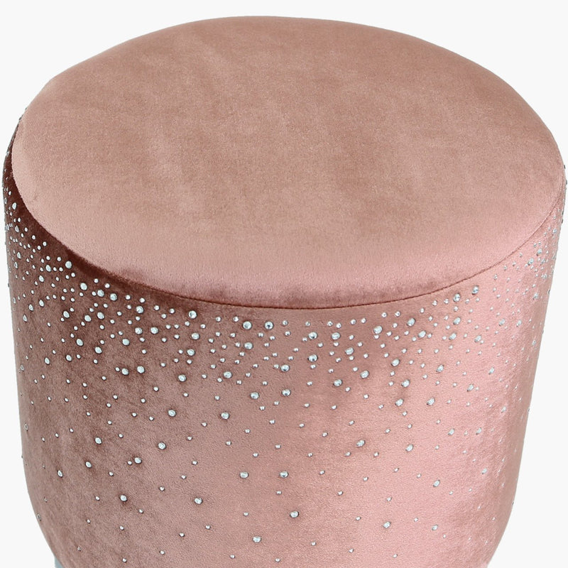 Pink Round Stool With Sparkle Pattern - AR Furnishings - Specialists In Bringing Luxury Into Your Home.