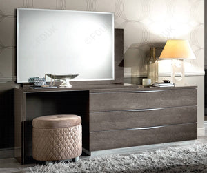 Platinum Night Silver Birch High Gloss Finish Large Dressing Table - ImagineX Furniture & Interiors