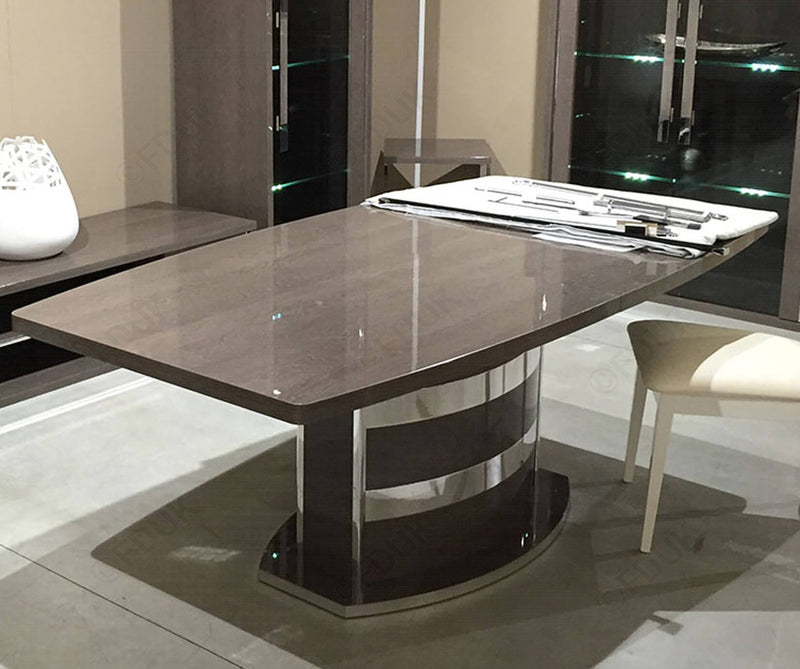 Platinum Day Silver Birch High Gloss 160-205cm  Ext Dining Table Only - AR Furnishings - Specialists In Bringing Luxury Into Your Home.