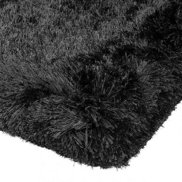Plush Black Luxury Shaggy Polyester Rug by Asiatic - AR Furnishings - Specialists In Bringing Luxury Into Your Home.