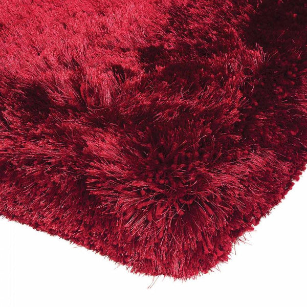 Plush Red Luxury Shaggy Polyester Rug by Asiatic - AR Furnishings - Specialists In Bringing Luxury Into Your Home.