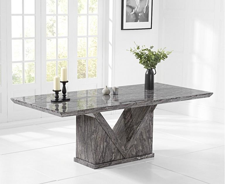 Minsk 220cm Grey Marble Dining Table