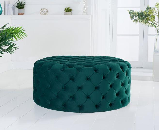 Montrose Green Velvey Round Footstool - Medium