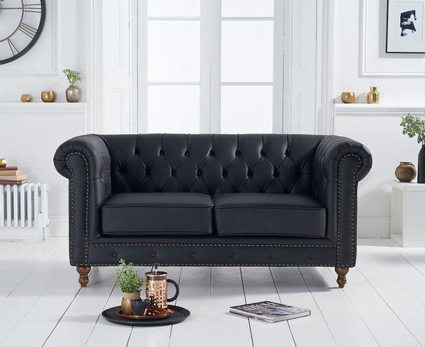 Montrose Black Leather 2 Seater Sofa