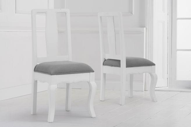 Sienna White Dining Chair With Grey Padded Seat