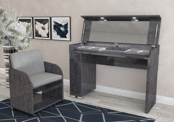 Sarah Grey Birch Italian Vanity Dressing Table + Chair - AR Furnishings - Specialists In Bringing Luxury Into Your Home.