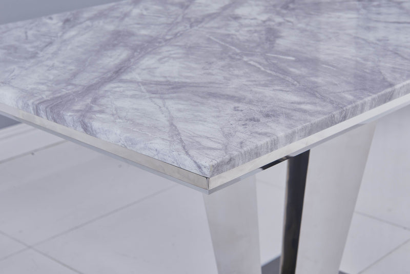 Riccardo Grey Marble 120cm Dining Table + Chelsea Lion Knocker Plush Velvet Chairs - AR Furnishings - Specialists In Bringing Luxury Into Your Home.