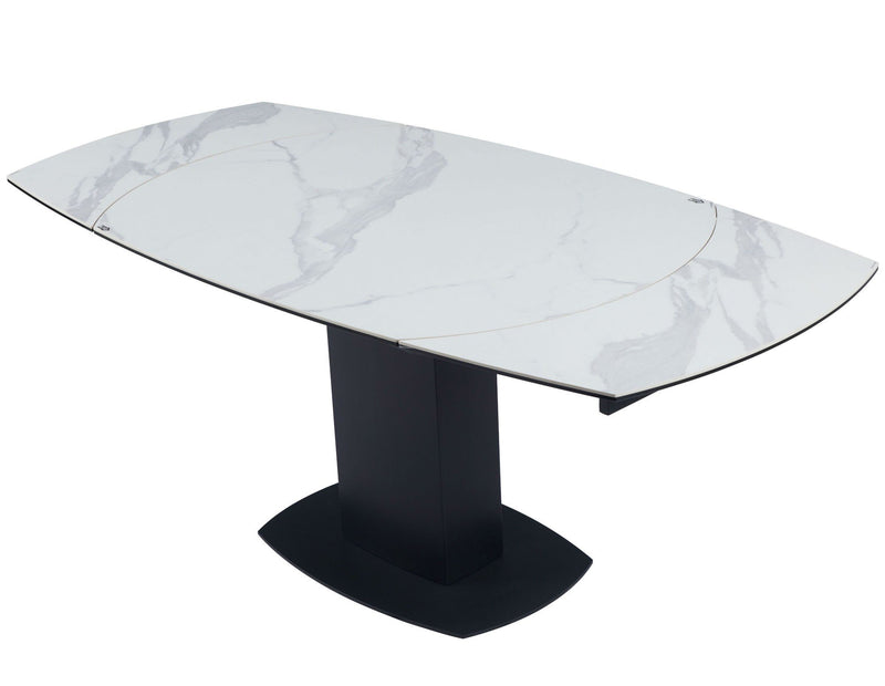 Ritz 120-180cm - White Ceramic Marble Swivel Mechanism Extending Table - AR Furnishings - Specialists In Bringing Luxury Into Your Home.