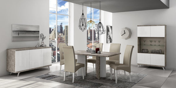 Treviso Stone Effect Italian 160cm Fixed Dining Table + Chairs Set - AR Furnishings - Specialists In Bringing Luxury Into Your Home.
