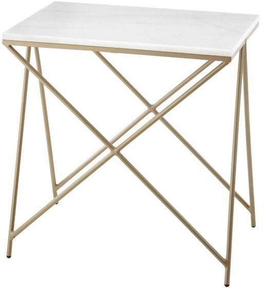 RV Astley Naill White Marble Side Table