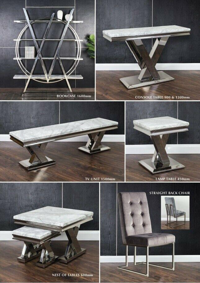 Cello Grey Marble & Chrome Console Table - ImagineX Furniture & Interiors