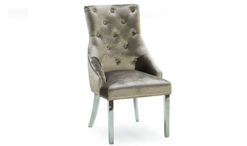 Belle Champagne Knockerback Soft Velvet  Dining Chair With Ring - Chrome Legs - ImagineX Furniture & Interiors