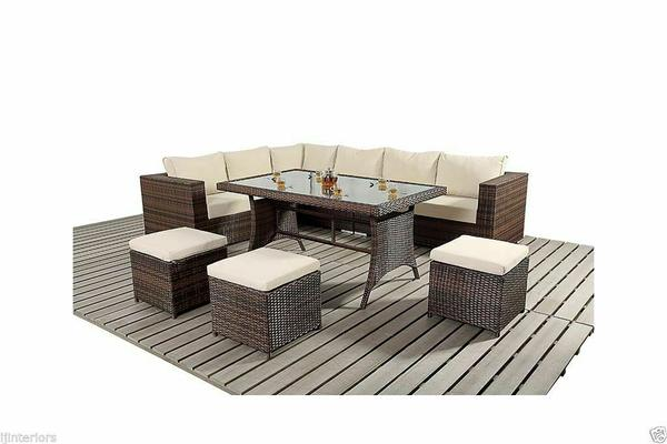 Corner Rattan Garden Furniture Sofa Dining Table Set + Stools - 3 Colours
