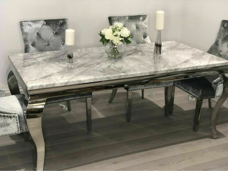 Louis 160cm White Marble Dining Table + 4 Grey Lion Knocker Chairs + 110cm Bench