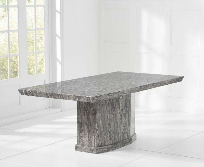 Casa Dark Grey Pedestal 200cm Marble Dining Table - AR Furnishings - Specialists In Bringing Luxury Into Your Home.