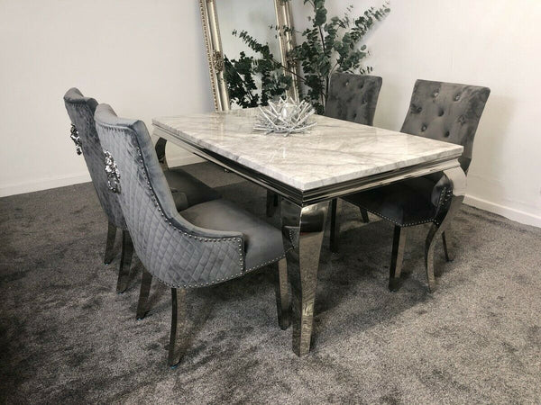 Louis 200cm Grey Marble Dining Table & Grey Lion Knocker Plush Velvet Chairs