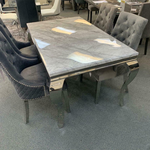 Louis 180cm Grey Marble Dining Table + Grey Lion Knocker Plush Velvet Chairs - ImagineX Furniture & Interiors