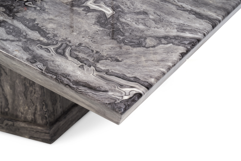 Casa Dark Grey Pedestal 160cm Marble Dining Table - AR Furnishings