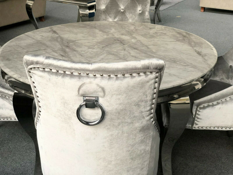 Louis 130cm Grey Marble Round Dining Table + Chelsea Dark Grey Lion Knocker Chairs - AR Furnishings - Specialists In Bringing Luxury Into Your Home.