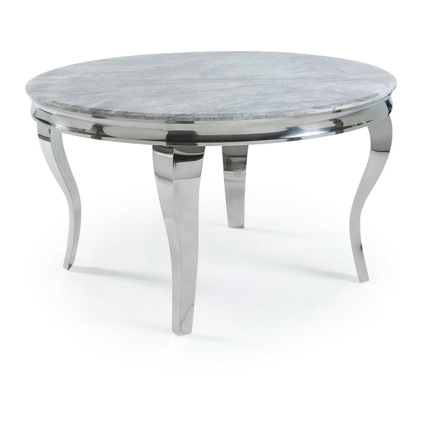 Louis 130cm Grey Marble Round Dining Table + Chelsea Silver Lion Knocker Chairs - AR Furnishings - Specialists In Bringing Luxury Into Your Home.