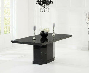Casa Black Pedestal 160cm Marble Dining Table