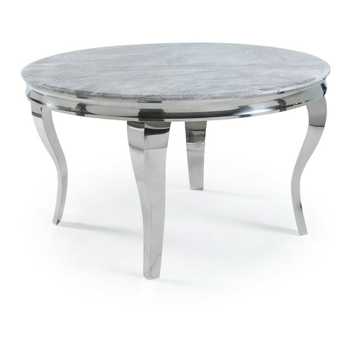 Louis 130cm Grey Marble Round Dining Table + Chelsea Silver Lion Knocker Chairs